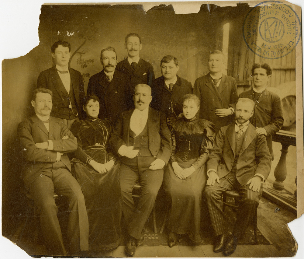 Avraham Goldfaden (seated in the middle) surrounded by members of his troupe c. 1878